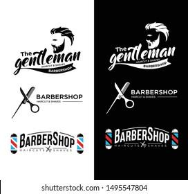 Set Of Vintage Barber Shop Emblems, Badges and Design Elements. Barbershop Logo, Label, Sign .