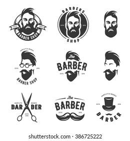 Set of vintage barber shop emblems, labels, badges and design elements. Monochrome male faces. Vintage vector illustration.