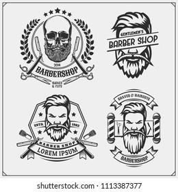 Set of vintage Barber shop labels, badges, emblems and design elements.
