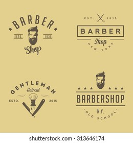 Set of vintage barber shop logo