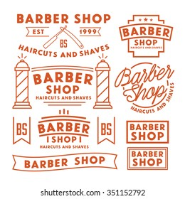 Set of vintage barber shop logo, labels, badges and design element. Haircuts and shaves.