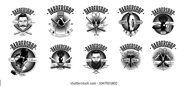 Set of vintage barbershop emblems. Isolated on white background. Can use stiker , labels, badges, logos