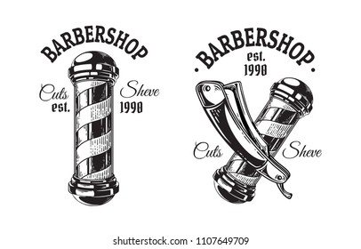 Set of vintage barbershop emblems labels badges logos pole blade. Isolated on white background. Vector illustration
