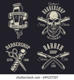 Set of vintage barbershop emblems, labels, badges, logos. Layered. Text is on separate layer. Isolated on black background