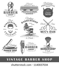 Set of vintage barbershop labels. Templates for the design of logos and emblems. Collection of barbershop symbols: clipper, pole, scissors. Vector illustration