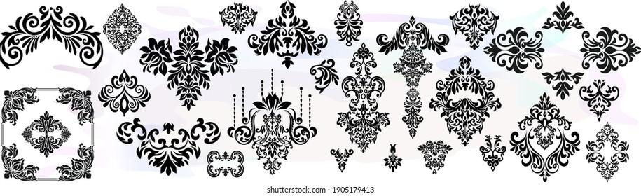 Set Vintage baroque frame scroll ornament engraving border floral retro pattern antique style acanthus foliage swirl decorative design element filigree calligraphy.