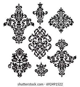 Set of vintage baroque frame scroll ornament elements.