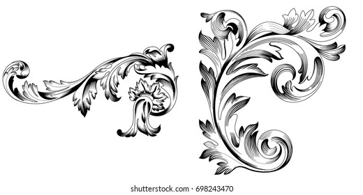 Set of vintage baroque ornament, corner, border. Retro pattern antique style acanthus. Decorative design element filigree calligraphy vector. - stock vector