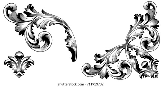 Set of vintage baroque ornament, corner. Retro pattern antique style acanthus. Decorative design element filigree calligraphy vector. - stock vector