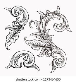 set of vintage baroque ornament frame scroll engraving border floral