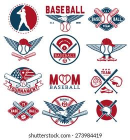 Set of vintage baseball badges