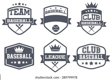 Set of Vintage Baseball Club Badge and Label with helmets. Emblem of sport team and event. Vector icons isolated on background.