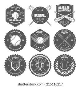 Set of vintage baseball labels and badges. Vector illustration