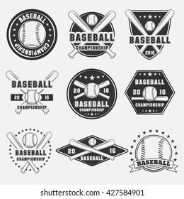 Set of vintage baseball logo, icon, emblem, badge and design elements. Vector illustration