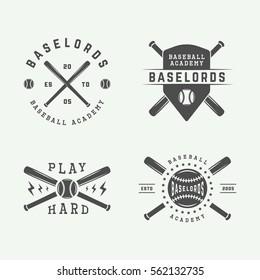Set of vintage baseball logos, emblems, badges and design elements. Monochrome graphic Art. Vector Illustration.