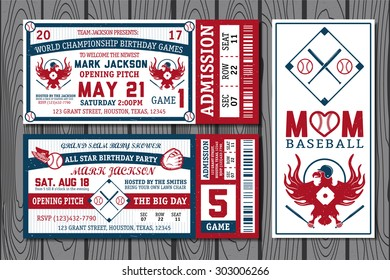 Set of vintage baseball tickets