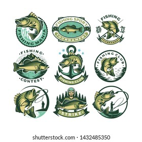 Set of vintage bass fishing labels, logo badges and design elements