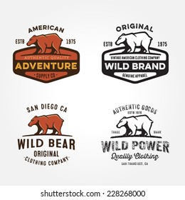 Set of vintage bear badges, labels, emblems, logos, icons and design elements, vector illustration