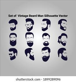 Set of Vintage Beard Man Silhouette Vector