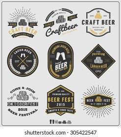 Set of vintage beer badge logo and labels template design.Vector illustration