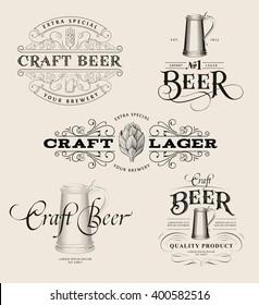 Set of vintage beer logos. Brewing labels and design elements