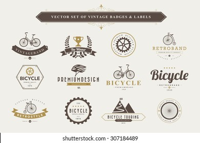 Set of vintage  bicycle badges and labels