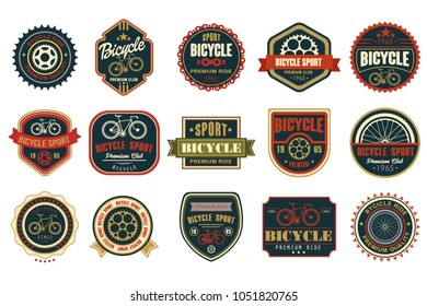 Set of vintage bicycle logos. Extreme cycling sport. Stylish typographic design for biking club, bike shop or repair service. Original vector emblems