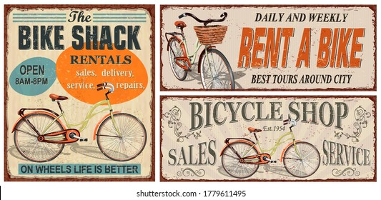 Set of vintage bicycle metal signs,Rent a bike, Bicycle Shop retro poster.