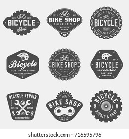 set of vintage bicycle shop and repair badges and labels. bike sales and service logos. vector illustration
