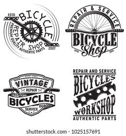 Set of vintage bicycles club logo designs,  downhill bikers grange print stamps, bicycles repair shop creative typography emblems, Vector