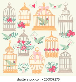 Set with vintage bird cage.