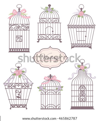 Set Vintage Bird Cages Decorated Flowers Stock Vector Royalty Free