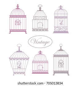 Set with vintage bird cages. Hand drawn vector illustration for greeting card, invitation, banner, scrapbooking.