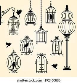 Set of vintage bird cages. Vector illustration