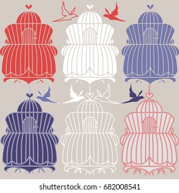 Set with vintage bird cages. Vector for wedding