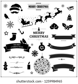 Set Of Vintage Black Christmas Symbols And Ribbons With Gradient Mesh, Vector Illustration