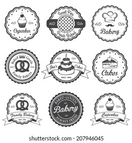 Set of vintage black and white bakery emblems, labels and designed elements. Set 2