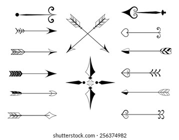 A set of vintage black and white vector arrows for your design.