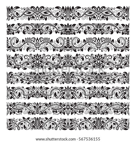 Set Vintage Border Brushes Templates Baroque Stock Vector Royalty