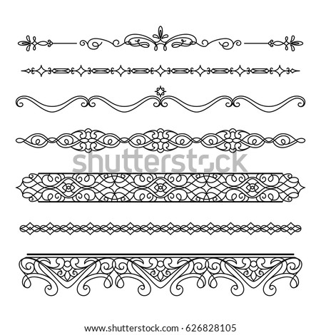 set vintage borders flourishes vector scroll stock vector royalty