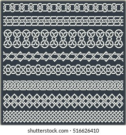 Set of vintage borders in the form of celtic ornament