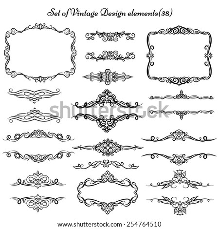set vintage borders frames stock vector royalty free 254764510