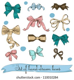 set of vintage bows. Vector illustration EPS8