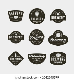 set of vintage brewery logos. retro styled brewing company emblems, badges, design elements, logotype templates. vector illustration