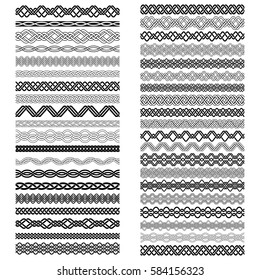 Set of vintage brushes templates for design. Forty border elements for frames in knotting style.