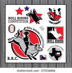 Set of vintage bull riding labels, badges and design elements