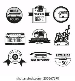 Set of vintage bus tour and bus rent badges, labels and design elements.