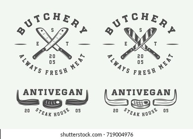 Set of vintage butchery meat, steak or bbq logos, emblems, badges, labels. Graphic Art. Vector Illustration.