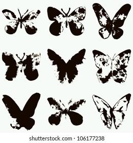 Set of vintage butterflies. Vector