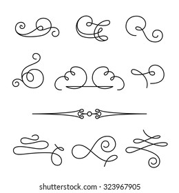 Set of vintage calligraphic swirls and dividers, decorative design elements, simple swirls and flourishes on white, vector scroll embellishment in retro style